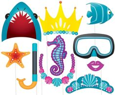 Photo Booth Under the Sea / Beach Prop's Photo Props… Under The Sea Theme, Under The Sea Party, Hawaian Party, End Of Year Party, Hen Party Bags, Shark Photos, Sleepover Birthday Parties, Little Mermaid Parties, Water Party