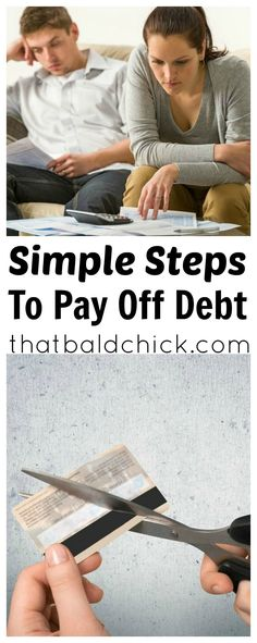 Simple steps to pay off debt at thatbaldchick.com - because ignoring your debts isn't going to do your finances any favors.  via @thatbaldchick