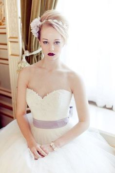 Sweetheart Ball Gown with Light Purple Ribbon