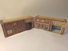 MARX FT APACHE PLAYSET CAVALRY SUPPLY & STABLE LITHO BUILDINGS VINTAGE #X5295 #Marx