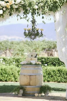 Ponte Winery Wedding | Lisa Moon Events | Temecula, CA | wine barrel | wine ceremony | ivy chandalier | Jim Kennedy Photographers