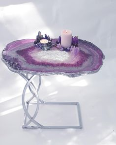 Geode coffee table inspired by the amethyst - Luxurious exclusive furniture - Bedside or couch table Crystal Furniture, Resin Furniture, Unique Furniture, Crystal Room, Crystal Decor, Diy Resin Art, Diy Resin Crafts, Couch Table, A Table