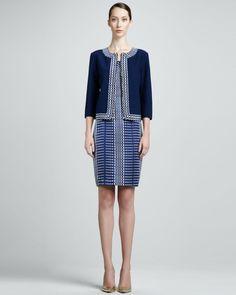 St. John - Shop Online - Collection - Nouveau Boucle Knit Jacket & Sleeveless Linear Silk Faille Dress