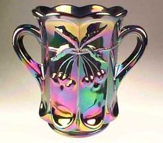 Stunning Purple Carnival Glass Tall Spooner Vase w Handles Cherry Cable Pattern