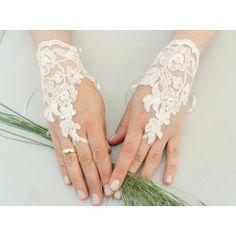 Ivory Wedding Glove, ivory lace gloves, glove Fingerless Glove,   ByVivienne - Accessories on ArtFire