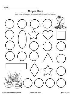 Practice recognizing the Circle geometric shape by completing the maze in this printable worksheet. 3d Shapes Worksheets, Shapes Worksheet Kindergarten, Maze Worksheet, Alphabet Worksheets, Preschool Shapes, Shape Activities, Tracing Worksheets, Preschool Learning, Kindergarten Math