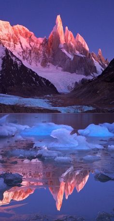 Crimson Crags of Cerro Torre Mountain in Patagonia, Argentina/Chile by Michael Anderson.
