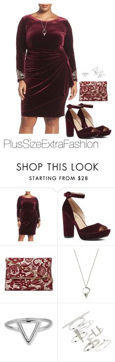 """""""Edgy Burgundy Plus Size Formal Holiday Outfit"""" by plussizeextrafashion ❤ liked on Polyvore featuring Alex Evenings, Nine West, Dorothy Perkins, Lauren Wolf, ChloBo, Topshop and plus size dresses"""