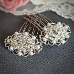 CHANTAL - Swarovski Crystal Wedding Hair Combs, Rhinestone and Pearl Bridal Hair Combs, White, Ivory, Filigree Hair Accessory, Set of TWO. $39.95, via Etsy.
