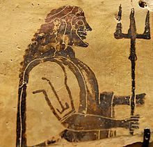 Placa de cerámica del Dios del mar y las tormentas, Poseidón.