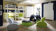 Goodnightkidzz Kinderslaapkamer Hoppekids Hoogslaper met gezellig zitje om te bouwen naar een logeerbed. Kleur wit