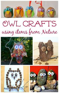 Owl Crafts for Kids to Make Beautiful DIY owl crafts for kids to make with items from nature + great owl themed books too!Beautiful DIY owl crafts for kids to make with items from nature + great owl themed books too! Autumn Activities, Craft Activities For Kids, Preschool Crafts, Animal Activities, Autumn Crafts, Nature Crafts, Art And Hobby, Owl Crafts, Animal Crafts