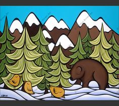 """""""One of the things I love about the Rocky Mountains is watching all the animals of the forest come out to play in the snow,"""" says Hawaiian surf artist Heather Brown. This signed matted print, depicts"""