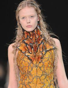 Frida Gustavsson at Alexander McQueen Spring/Summer 2011.