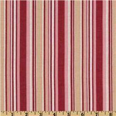 Cotton Voile Stripes Red/Tan/White
