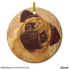 Inked Pug Double-Sided Ceramic Round Christmas Ornament
