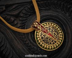 Jewelry OFF! Stunning yellow gold pendant from Karpagam Jewellers. Fashionable pendant with intricate design and embellished with enamel work. Gold Bangles Design, Gold Jewellery Design, Gold Jewelry, India Jewelry, Antique Jewellery, Wire Jewelry, Bridal Jewelry, Bracelet Designs, Necklace Designs