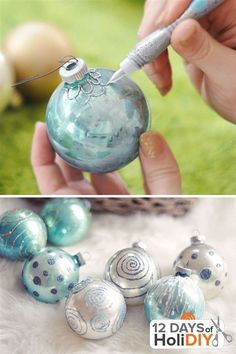 Your Old Or Vintage Glass Ornaments Can Take On New Life With Glitter Glue And A