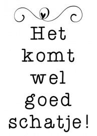 Translation: IT Will be Allright my darling! A coined phrase in Holland. Words Quotes, Me Quotes, Funny Quotes, Sayings, Qoutes, Great Quotes, Quotes To Live By, Inspirational Quotes, Bon Courage