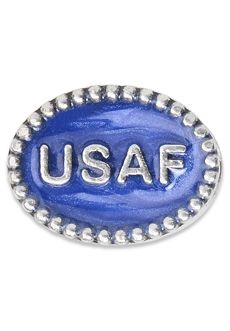 Nomades - Beaded Service Spacer - Air Force .925 sterling silver spacer with beaded pattern. USAF is on this spacer with shades of blue enamel on each side.