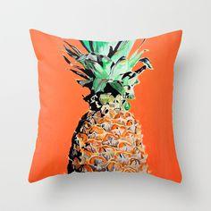 Pineapple pop art painting Throw Pillow by Anna Rachel Green - $20.00