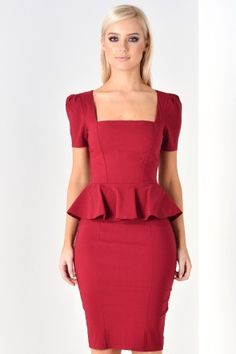 Amari Peplum Midi Dress in Wine
