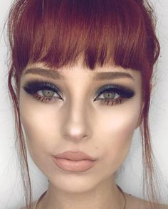 redhead + short hair + bangs + make-up / Queen Makeup, Beauty Makeup, Hair Makeup, Hair Beauty, Soft Makeup, Disney Inspired Makeup, Short Hair With Bangs, Hair Bangs, Hair Color Auburn