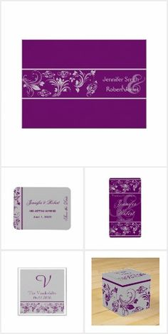 This Beautiful And Elegant Wedding Design Called Purple Silver Fl Scroll Has A Plum Background With Grey Accents