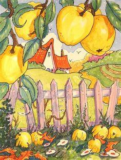 """""""Golden Harvest Storybook Cottage Series"""" - Original Fine Art for Sale - ©Alida Akers"""