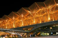 Oriente Station at night in Lisbon