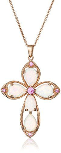 """Rose Gold Plated Sterling Silver Simulated Opal With Created Pink Sapphire Cross Pendant Necklace, 18"""""""