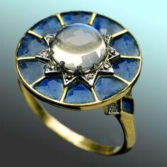 ART NOUVEAU Gold, Plique-à-jour, Moonstone Diamond Ring French, c. 1900 - Tadema Gallery