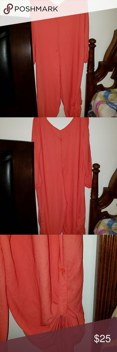 Ballon jumpsuit Cold shoulder Orange Ladies balloon jumpsuit size 4x but fits like a 2x wear legs buttoned up or down . New never worn but no tags. Reasonable offers accepted. Pants Jumpsuits & Rompers