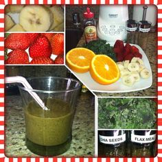 Frozen babana, strawberry, orange, kale, agave nectar, chia seeds, and flax meal.