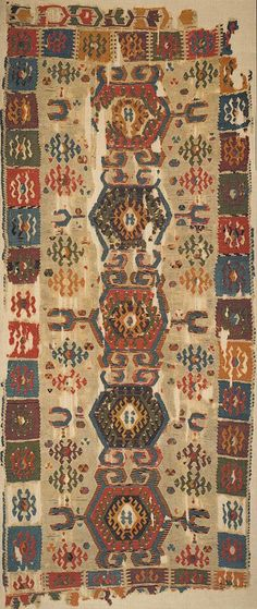 Turkish Konya kilim - The calibrated age (with 95% confidence limit) was listed as 1427-1692AD (86.4%) and 1728-1815 AD (9.8%). The radiocarbon date was listed as 320 + or - 88 years BP, (meaning before present, using 1950 as the base)