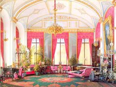 """""""Interiors of the Winter Palace. The Raspberry Study of Empress Maria Alexandrovna""""."""