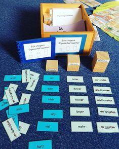 """""""Ich steigere Eigenschaftswörter"""" Für drei Stufen werden mit Beispielen erklärt, dann das Material gelegt und anschließend inkl. der farblichen Markierung in das kleine Heft übertragen #grundschule #teachers #deutsch #unterricht #lehrer #schule #wiewörter"""