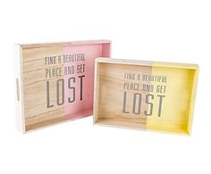 Set de 2 bandejas de madera DM - rosa, amarillo y natural
