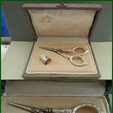 Старинный швейный набор,Стерлинговое серебро-наперсток,ножницы