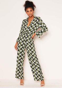 f952e079d83 Missyempire Antonia Khaki Geometric Print Jumpsuit