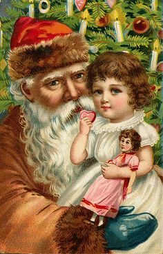 Santa with little girl. Vintage Santa. Vintage Christmas postcard.