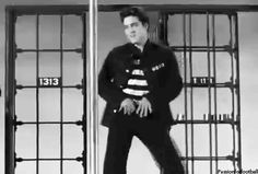 Click on GIF to make Elvis move! Elvis dances in 'Jail House Rock'