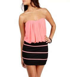 Black/Papaya Color Block Dress