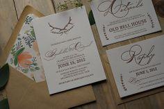 antler rustic wedding invitation, kraft and brown wedding colors, pattern envelope liner, letterpress invitations
