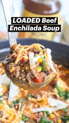 Crock Pot Recipes, Soup Recipes, Dinner Recipes, Cooking Recipes, Healthy Soups, Healthy Recipes, Enchilada Soup, Beef Enchiladas, Soup And Sandwich