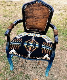 Made to order, Custom Western Cowhide and Pendleton Accent/ dinning Chair Cowhide Furniture, Cowhide Chair, Western Furniture, Rustic Furniture, Diy Furniture, Painted Furniture, Cabin Furniture, Reupholster Furniture, Furniture Projects