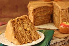 Caramel Apple Cake with Salted Caramel Buttercream - SugarHero