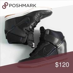 NEW Nike black leather ski hi dunk wedge sneakers New and never worn. Sorry no box. Gum sole. Sold out everywhere! Bundle to save 25%! Nike Shoes Sneakers