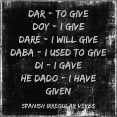 Spanish verb tenses in first person singular. A Level Spanish, Spanish English, English Tips, English Lessons, Learn English, Spanish Practice, Spanish Basics, Spanish Lessons, Spanish Phrases