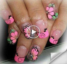 result for deko uñas Beautiful Nail Designs, Beautiful Nail Art, Cute Nail Art, Cute Nails, Pretty Nails, Butterfly Nail Designs, Butterfly Nail Art, Flower Nail Art, Nail Art Designs